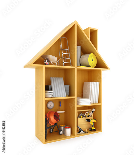 Fototapeta concept of the construction. Building materials and tools in a Dollhouse. 3D illustration obraz na płótnie