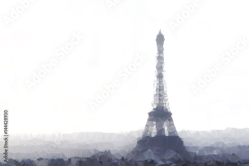 Papiers peints Paris poligonal Illustration of Eiffel tower in Paris, France