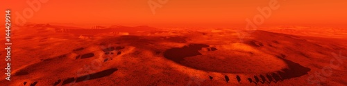 Garden Poster Red Landscape of Mars, Martian panorama, panorama of Mars, mountain landscape