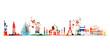Travel and tourism background. Famous world landmarks vector illustration. World skyline isolated