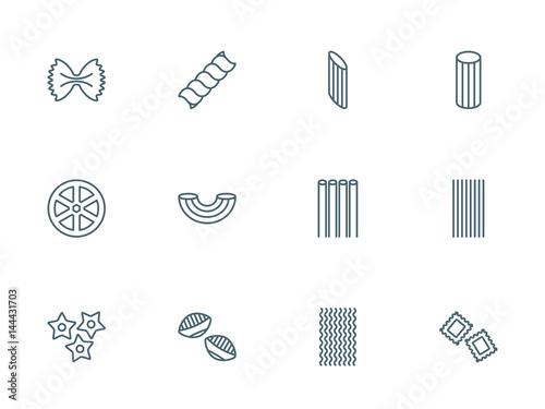 Fotografie, Obraz  Pasta set of vector icons