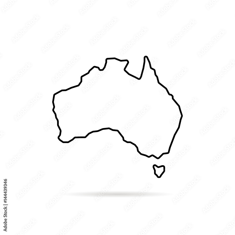Fototapeta thin line australia map with shadow