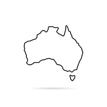 Thin Line Australia Map With S...