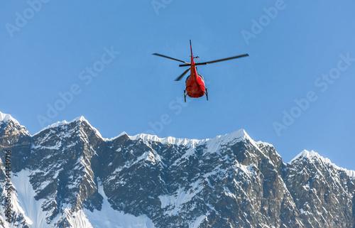 Valokuvatapetti Helicopter on background of the Nuptse massif - Everest region, Nepal, Himalayas