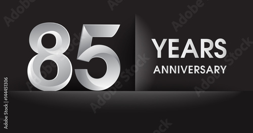 Eighty Five Years Anniversary Celebration Logo Flat Design Isolated On Black Background Vector Elements