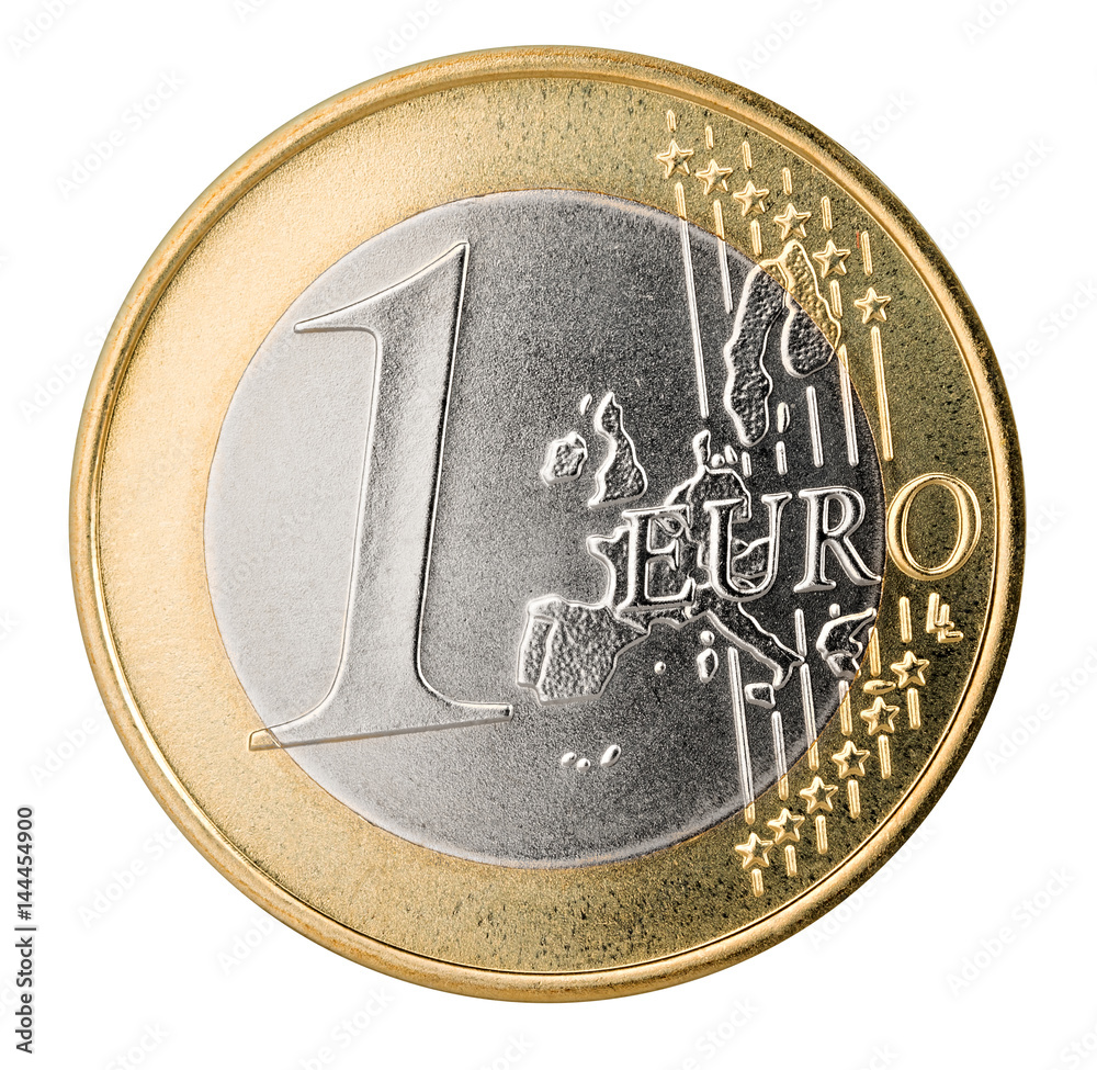 Photo & Art Print one euro coin isolated on white background / 1 ...