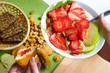 Vegetarian breakfast. Corn flakes with fresh berries and apples