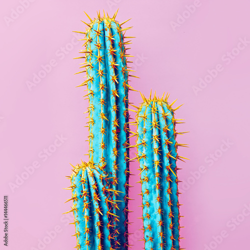 Foto op Canvas Cactus Set Neon Cactus. Minimal creative stillife