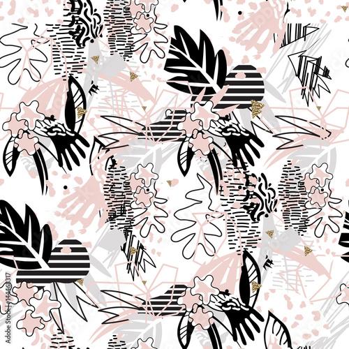 abstrakcyjna-grafika-w-rozowych-i-czarnych-kolorach-przedstawiajaca-kwiaty-i-inne-rosliny