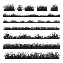 Grass Silhouette Borders Set O...