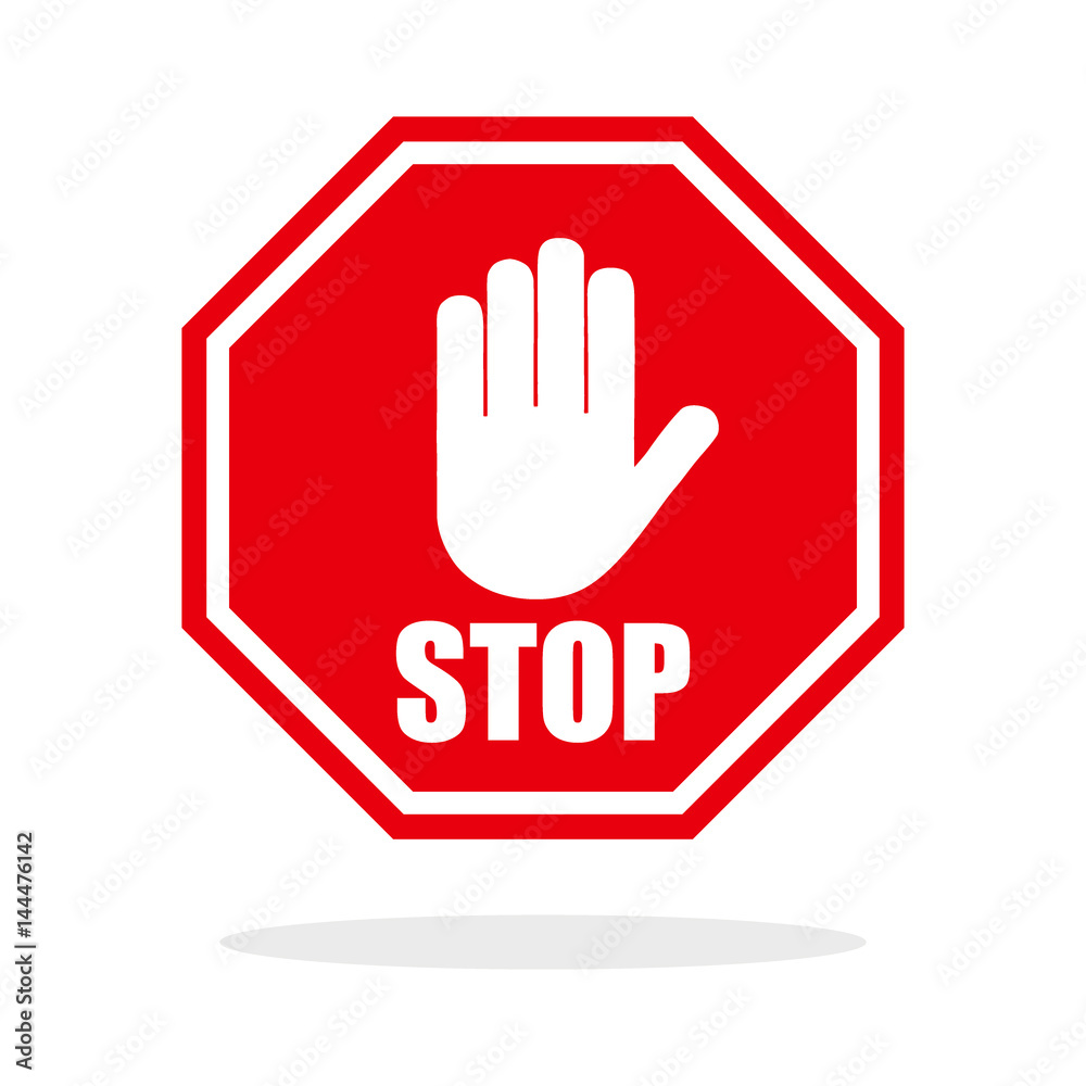 Fototapety, obrazy: Red stop hand sign