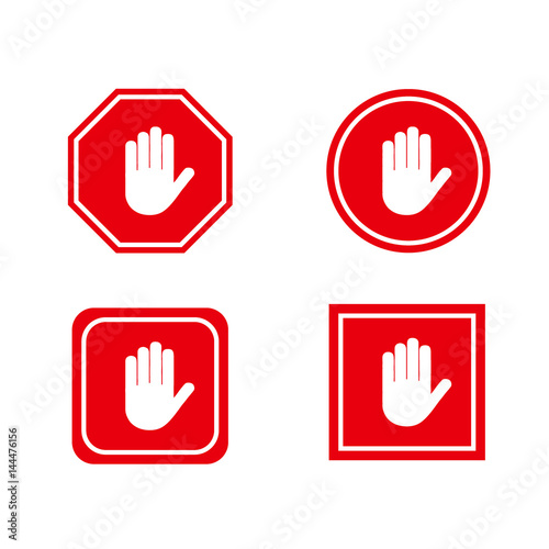Photo Red stop hand sign set.