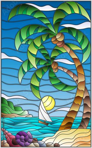 ilustracja-w-stylu-witrazu-z-tropikalnym-morzem-krajobraz-palmy-kokosowe-i-mu