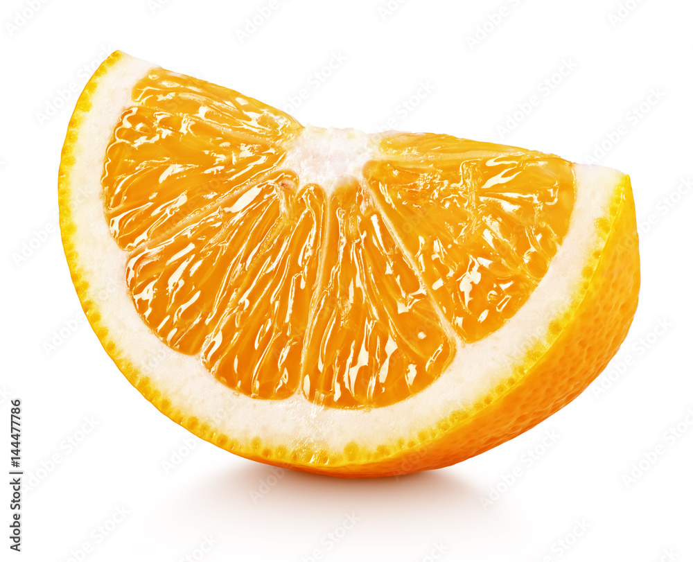 Fototapety, obrazy: Ripe slice of orange citrus fruit isolated on white background with clipping path