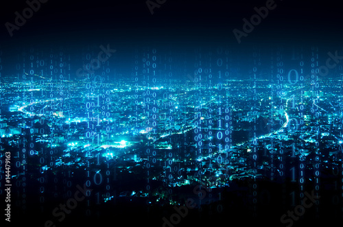 Fotografía  abstract digital signature over night city background