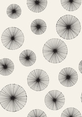 Panel Szklany Seamless monochrome dandelion pattern. Vector background.