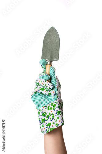 Fotografija  Hand in garden gloves holding gardening tool