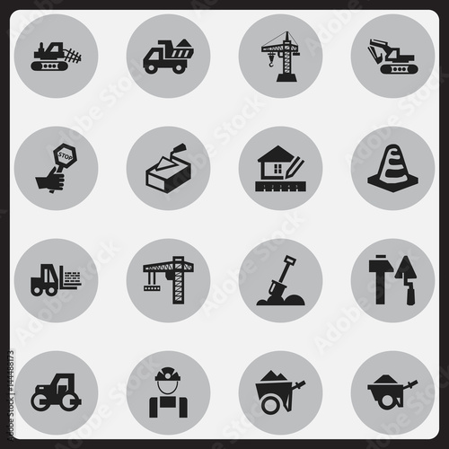 Set Of 16 Editable Construction Icons  Includes Symbols Such