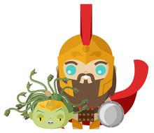 Warrior Perseus Cute Holding M...