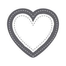 Monochrome Silhouette Heart Shape With Dotted Around Vector Illustration