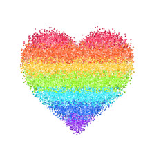 Glitter Rainbow Heart. Cute Sy...