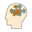 profile head puzzle pieces vector illustration eps 10