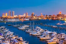 View Of The Farley State Marina And Skyline At Night, In Atlantic City, New Jersey.