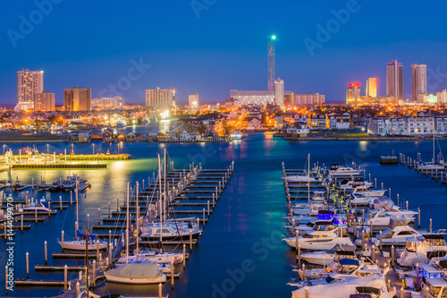 In de dag Luchtfoto View of the Farley State Marina and skyline at night, in Atlantic City, New Jersey.