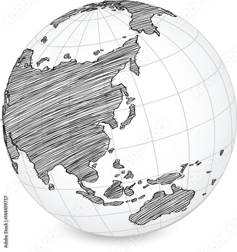 Earth Globe With World Map Detail Vector Line Sketch Up Illustrator