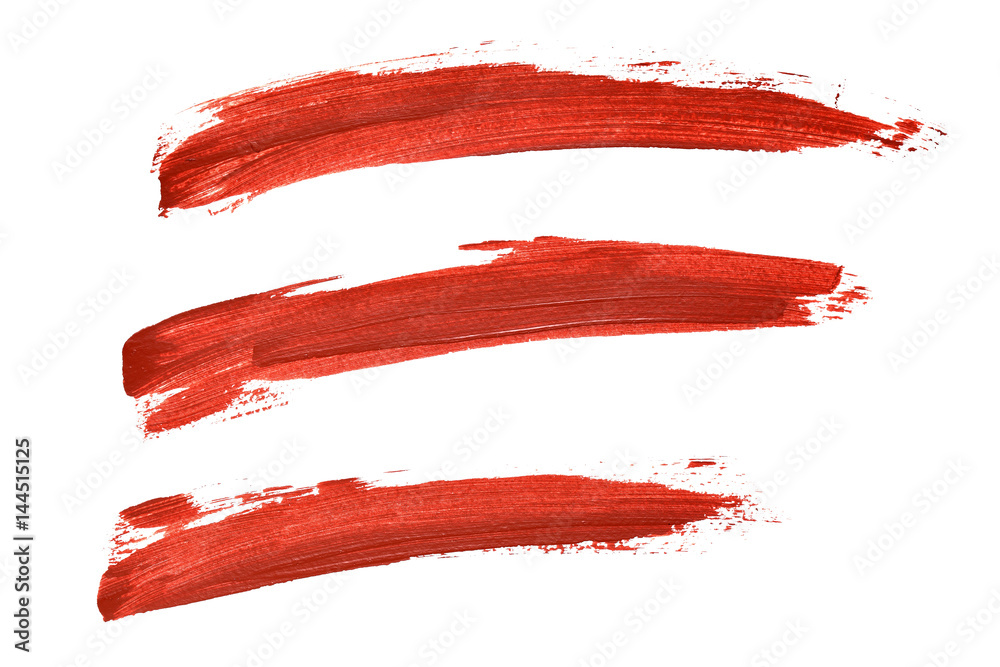 Fototapety, obrazy: Set of red paint lines