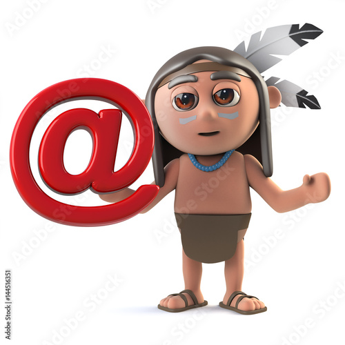 3d Funny cartoon Native American Indian character with email