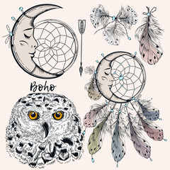 FototapetaBoho vector set from dreamcatcher, feathers, owl and arrow