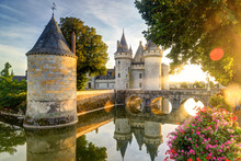 Chateau Of Sully-sur-Loire At Sunset, France. Old Castle In Loire Valley In Summer.