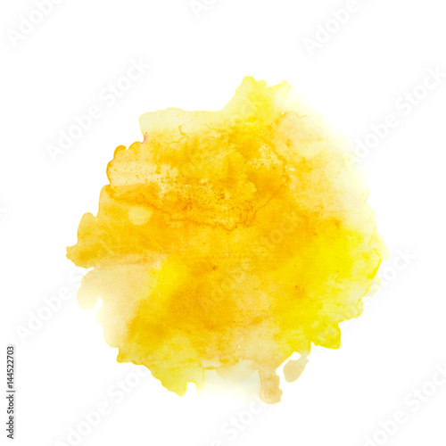 Color, yellow - orange splash watercolor hand painted isolated on white background, artistic decoration or background