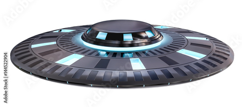 Poster UFO Vintage UFO isolated on white background 3D rendering