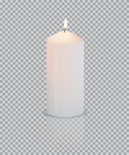 Realistic Vector White Candle ...