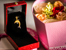 Dolphin Gold Pendant And Rose
