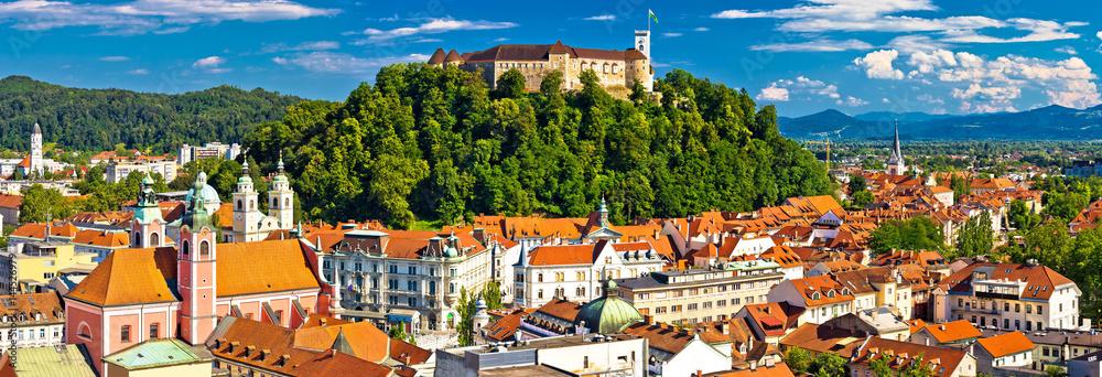 Fototapety, obrazy: City of Ljubljana panoramic view