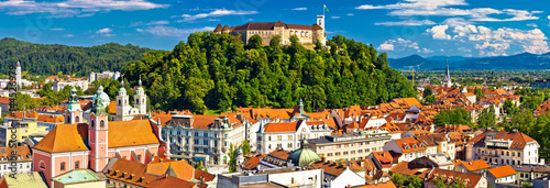 Poster Oost Europa City of Ljubljana panoramic view