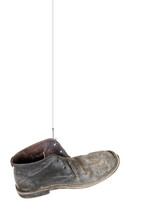Gone Fishing, Caught Old Boot. Isolated On White.