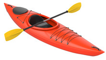 Orange Plastic Kayak With Yellow Paddle. 3D Render, Isolated On White Background