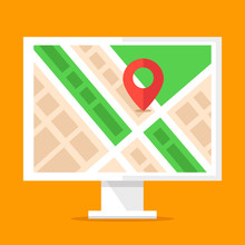 Information Stand With City Map And Map Pin. City Navigation Board, Signage. Your Location, You Are Here Concepts. Flat Design Vector Illustration