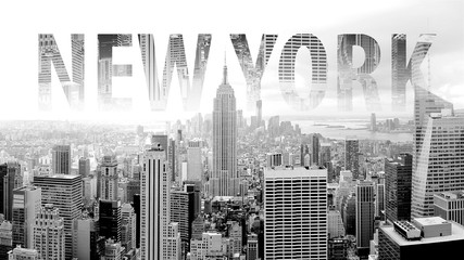 Panel Szklany New York in black and white postcard with lettering