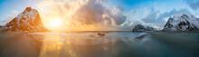 Sunrise In Arctic Sea And Moun...