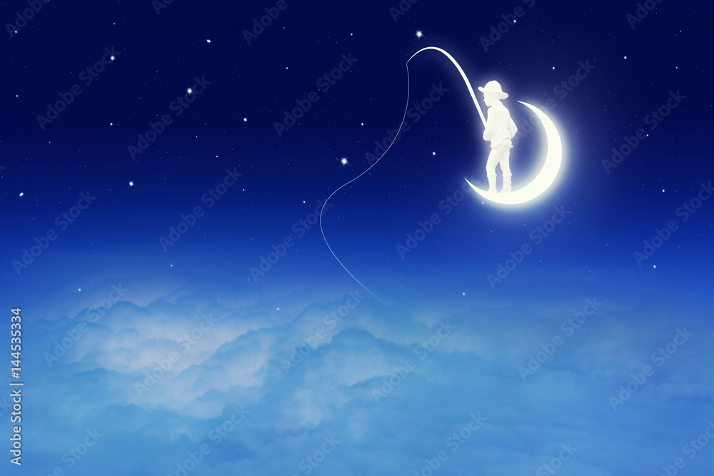 Conceptual image of a boy catching fish on moon