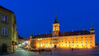 Old town in Warsaw at night. View of the castle square and the royal castle