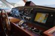 Steering wheel on the bridge of the yacht