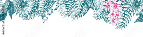 Cotton fabric Palm Leaf Sketch11