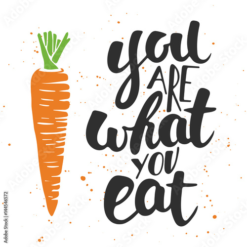 You are what you eat, modern ink brush calligraphy with splash Poster