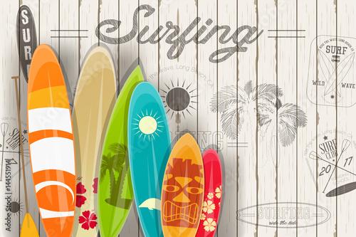 Surfing Retro Poster © elfivetrov